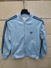 VINTAGE Veste ADIDAS bleu ciel jacket jacke tracktop oldschool S années 70