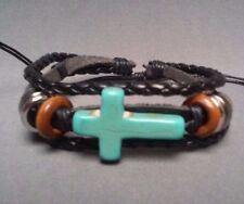 Christian Bracelet TURQUOISE CROSS Facing BLACK LEATHER MULTI BRAID Design Gift!