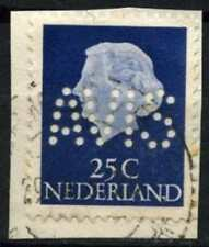 Netherlands 1953-71 SG#779b 25c Chalky Blue Queen Juliana Used Perfin #D71700