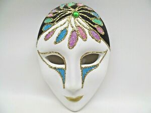 """Venetian Style Mask Mardi Gras Wall Hanging 6"""" T Hand Painted Peacock Tail"""