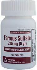 Ferrous Sulfate Iron 325 mg Generic for Feosol 100 Tablets per Bottle