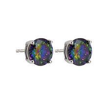 Round Mystic Topaz Cz on 925 Sterling Silver Stud Earrings