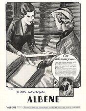 PUBLICITE ALBENE FLEUR DES BEAUX TISSUS TOILE VOILE DE 1936 AD PUB ART DECO RARE