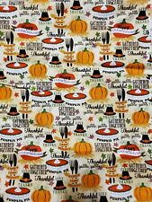 Fat Quarter Fabric Autumn Harvest Thanksgiving Turkey Thankful Family Friends