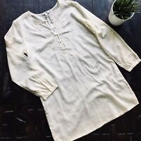 J. CREW Ivory Embroidered Peasant Tunic Blouse Women's XSMALL XS NEW NWT