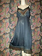 Vintage Adonna Black Silky Nylon Tricot Chiffon Pleat Empire Slip Nighty 40