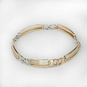"""Mens Solid Yellow & White 14k Gold Presidential Panther Bracelet 8mm 8.5"""" 11.3g"""