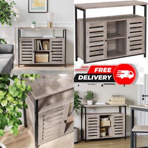 Large Wooden Sideboard Cabinet Industrial Cupboard Buffet Slim Grey Storage Unit
