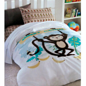 Cheeky Monkey Cotton Embroidered Quilt Cover Set Single by Happy Kids