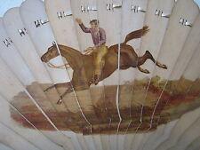 Unusual Antique Treen Fan Hand Painted? Horse Racing Jockey AM monogram c1860