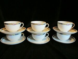 VINTAGE KPM 27044-4576 GERMANY YELLOW & BLUE BORDER ROSES 6 CUPS & SAUCERS