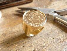 Chevalière ronde en or pièce de 10 Francs Napoléon lauré avec douille intérieure