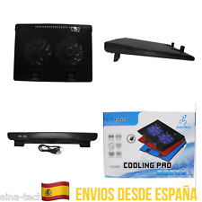 "Ventilador Doble Refrigerador Portátil 2 USB 9"" A 17"" Disipador 2 Ventilador Luz"