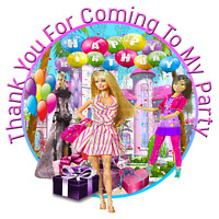 70 x Barbie  37mm Party stickers favours cone labels birthday parties