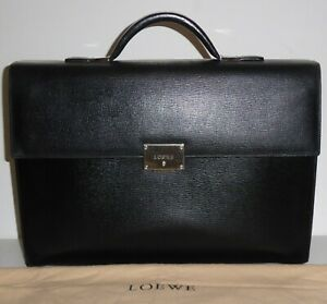 LOEWE SAFFIANO BLACK LEATHER BRIEFCASE ATTACHE CASE WITH DUSTBAG