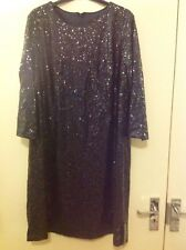 M&S COLLECTION New Long Sleeve Sequin Effected Shift Dress Size 18 Regular