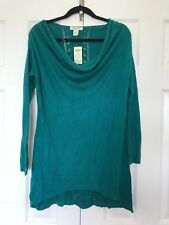 NEW Luxe ARDEN B Cowl Neck Jersey Knit Slouchy Tunic Asymmetrical SWEATER Top M