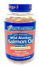 Pure Alaska Omega-3 Wild Salmon Oil 1000 mg 210 Softgels, Exp 2021