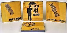 Inspirational Messages Wooden Coasters 4 Pc Lot Grand Central Logo Hand Painted