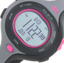 NEW Soleus Womens Chicked Digital Black Pink Polyuretha Strap Watch SR009011