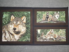 "Wolf Song Gray Wolves & Wolf Cubs Blocks Quilting Fabric 23"" Panel  #150"
