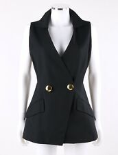 Vtg Christian Dior c.1980's - 1990's Black V Neck Double Breasted Vest Size 8