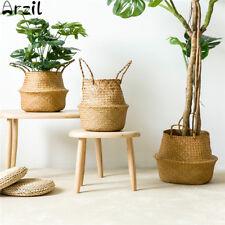 Seagrass Flower Belly Basket Storage Plant Pot Foldable Laundry Organizer