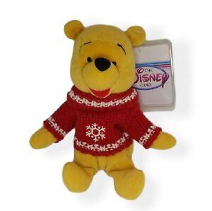 "Disney Store Winnie-the-Pooh Mini Bean Bag 8"" Snowflake Sweater Tag Protector"