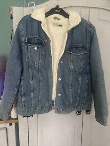 Topshop Fleece Lined Denim Jacket Size 10