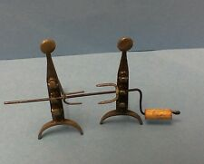 Dollhouse Miniature Harmony Forge Andirons w/spit hooks, Circa 1700 1:12 scale