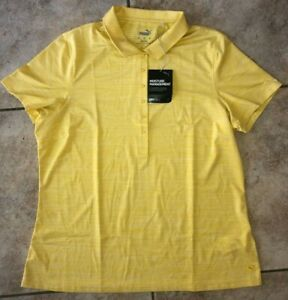 Womens Puma Sheer Striped DryCell Daily Golf Polo Yellow NWT $60