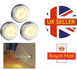 LED Motion Sensor Light Wireless Cabinet Stair Lamp Magnetic White Night Lights
