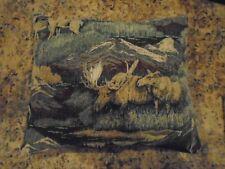 Mountains Moose Theme Woodland Lodge Cabin Throw Pillow Rustic decor 16 x13