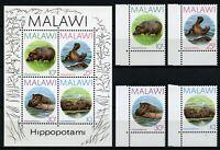 Malawi 1987 Flusspferde Vogel Hippopotamus Bird 485-488 Block 67 MNH / 729