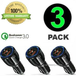 3 PACK 2 Port USB Fast Car Charger Dual For Apple iPhone Samsung Galaxy Android
