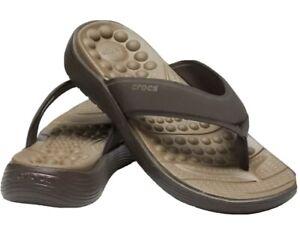 Crocs Reviva Flip Flops Thong Sandals Men's 13 Brown Expresso Soothing Massage