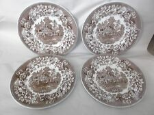 "4 Wedgwood Avon Cottage - Brown Dinner Plates, 10"", England"