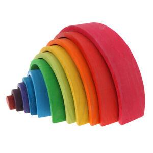 12Pcs   Wooden   Montessori   Rainbow   Stacking   Blocks   Building