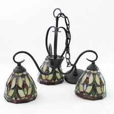 Hanging Tiffany Style Stained Glass Shade Lamp 3 Light Bar Chandelier