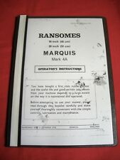"RANSOMES MARQUIS 18"" and 20"" Cylinder Lawnmower Operating Instructions Manual"