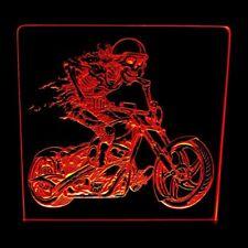 SKELETON ON BIKE - ACRYLIC LED SIGN