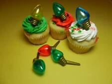 12 Christmas Light Bulb Picks Cupcake Toppers Cake Decorations