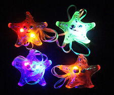 4 NEW LIGHT UP FLASHING STAR FISH JELLY NECKLACES OCEAN NOVELTY TOY PENDANTS