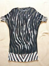 Adolfo Dominguez black/brown animal print sweater dress 1980s batwing style 6/8