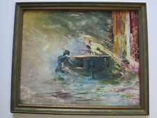ENCHANTING MASTERFUL PAINTING ANTIQUE OLD ART DECO PIANIST BAR MUSICIAN GHOSTLY