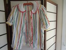 LADIES MULTI COLOURED BUTTON DOWN SHORT SLEEVE STRIPED BLOUSE