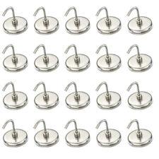 "20pc 1-3/8"" Magnetic Hook Set 8 lb Pull Strength Pot Magnet Refrigerator"