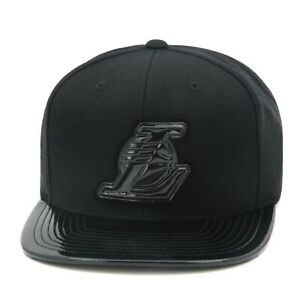 """Mitchell & Ness Los Angeles LA Lakers Snapback Hat All Black/Patent Leather/""""L"""""""