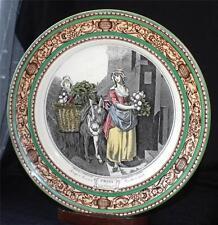 """Vintage ADAMS Ironstone CRIES of LONDON Green Brown Rim TURNIPS 10"""" Dinner Plate"""