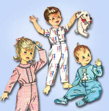 1960s Vintage Simplicity Sewing Pattern 4535 Baby Boys or Girls Footie Pajamas 1